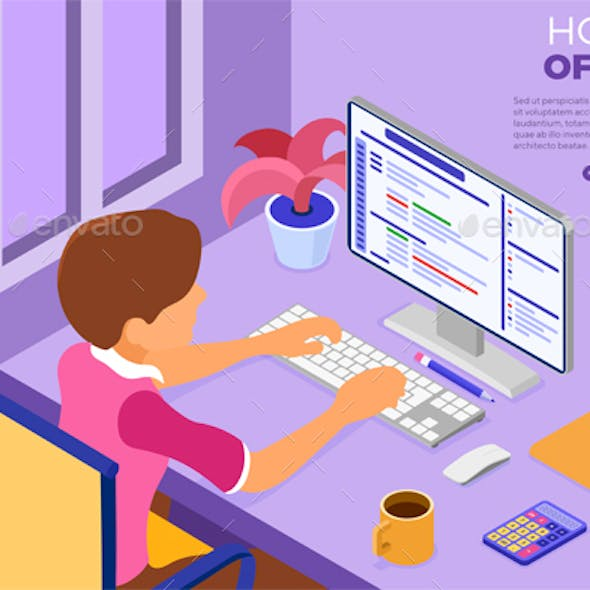 Programmer working at Home Office