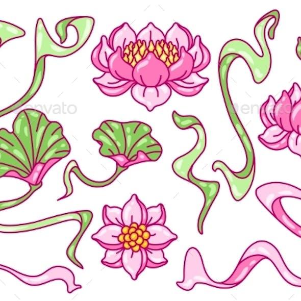Set of Lotus Flowers. Art Nouveau Vintage Style.