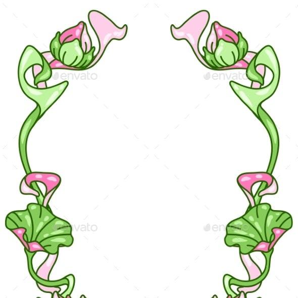 Frame with Lotus Flowers. Art Nouveau Vintage