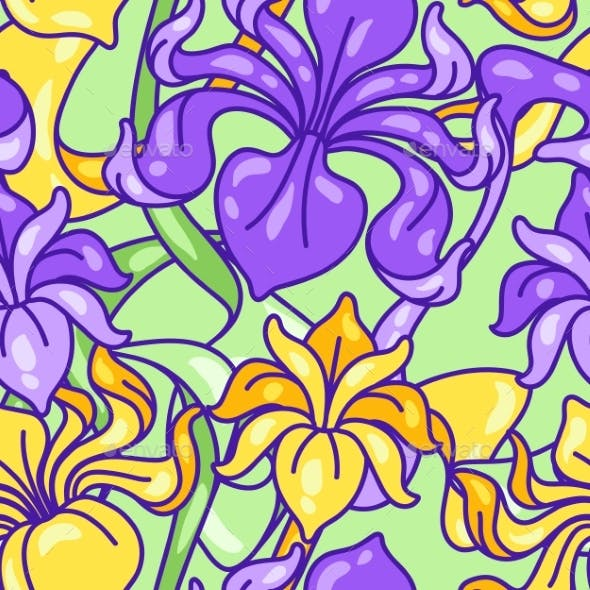 Seamless Pattern with Iris Flowers. Art Nouveau