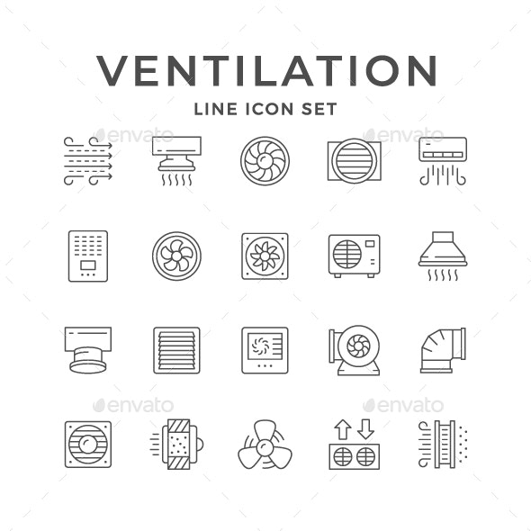 Set Line Icons of Ventilation - Man-made objects Objects
