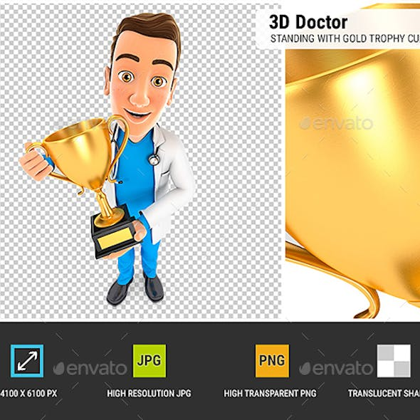 3D Doctor Standing with Gold Trophy Cup