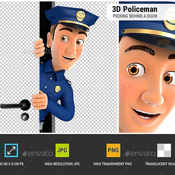 3D Policeman Peeking Behind a Door
