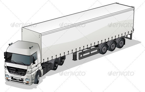 Commecial Semi-truck - Man-made Objects Objects