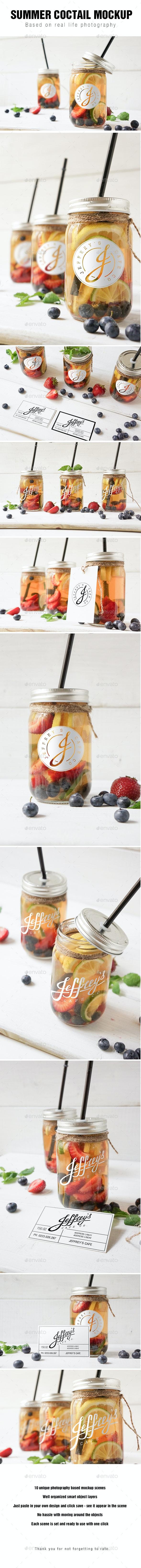 Mason jar Ice tea summer coctail mockup - Food and Drink Packaging