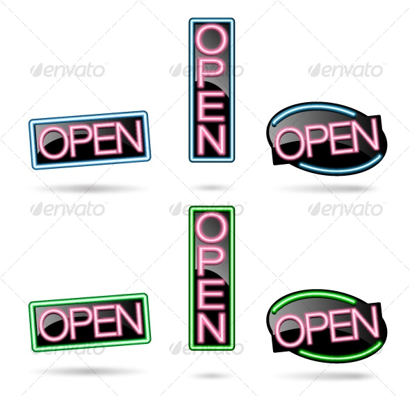 Neon Open Sign Set - Man-made Objects Objects