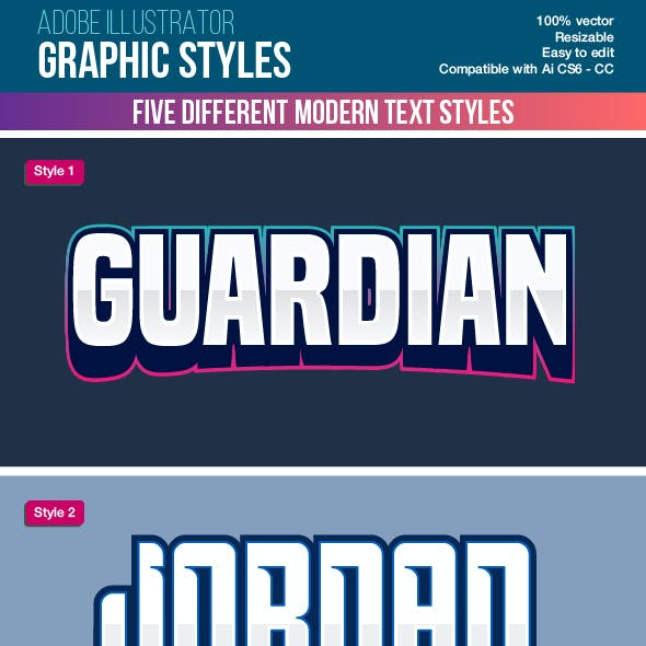 Five Colorful Modern Text Graphic Styles for Illustrator