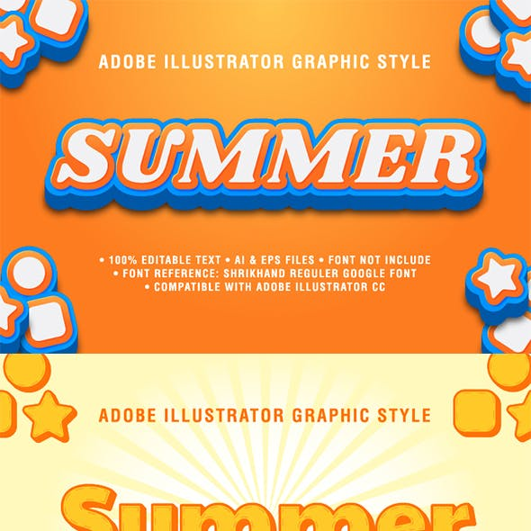 5 Summer Text Effect Graphic Styles Vector