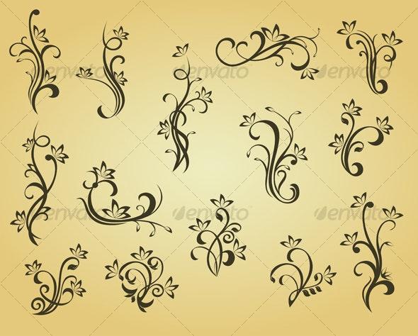 Set of vintage decorations - Flourishes / Swirls Decorative