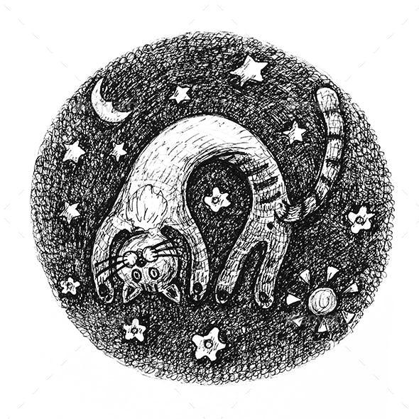 Playing kitten hand drawn sketch illustration