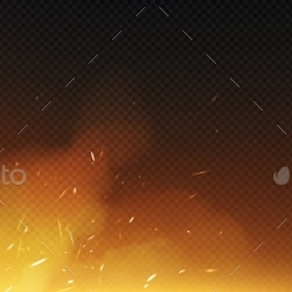 Fire Sparks with Smoke and Flying Up Particles