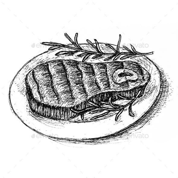 Beef steak hand drawn sketch illustration