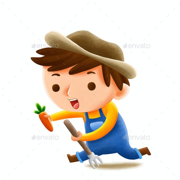 Farmer Profession — Kids Illustration