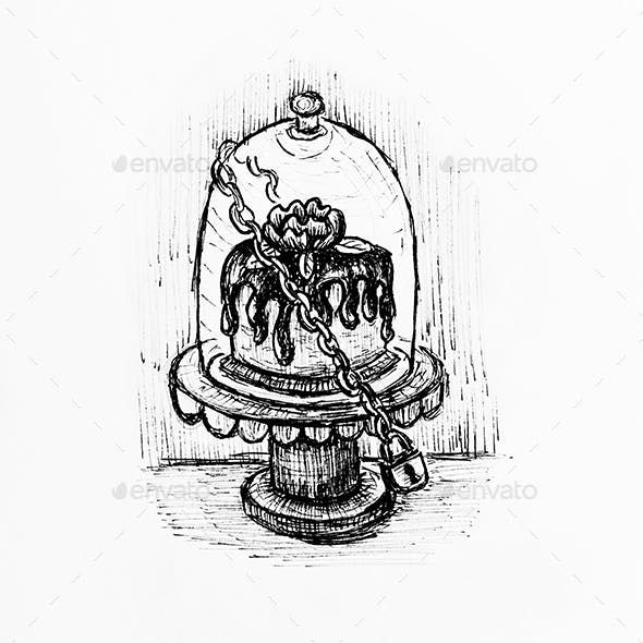 Glass cake stand hand drawn sketch illustration
