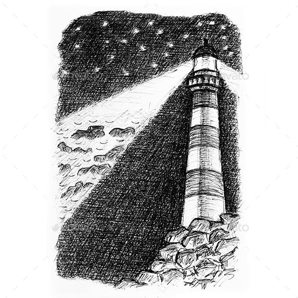 Lighthouse on the rocks hand drawn sketch