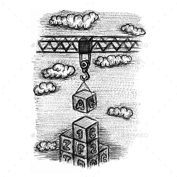 Baby toy blocks and crane sketch illustration