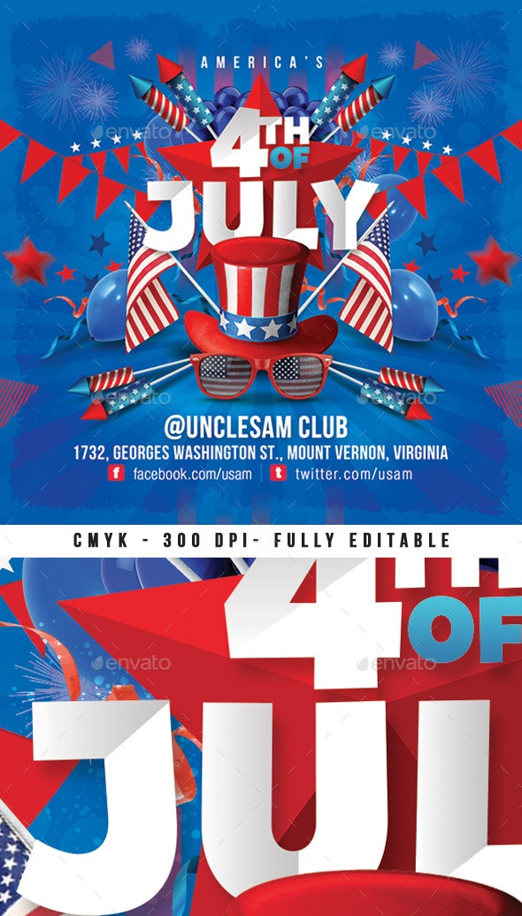 Usa 4th Of July National Day Flyer - Events Flyers