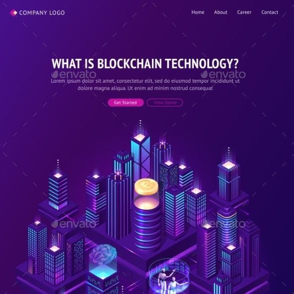 Blockchain Technology Isometric Landing Page