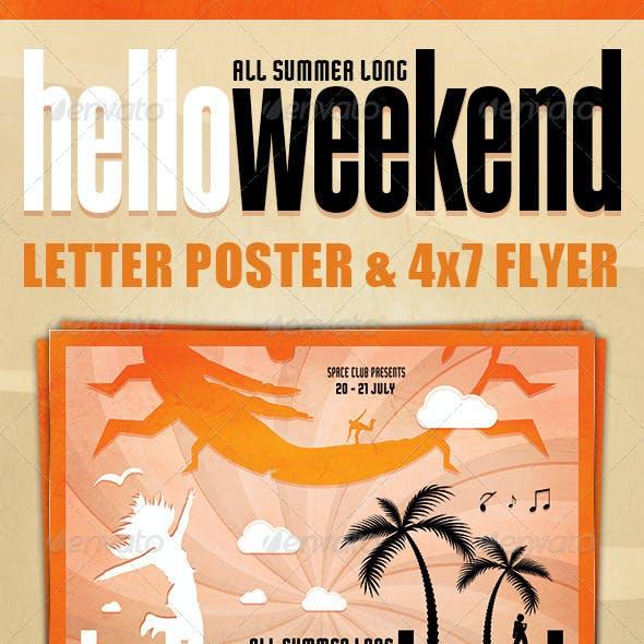 Hello Weekend Poster & Flyer