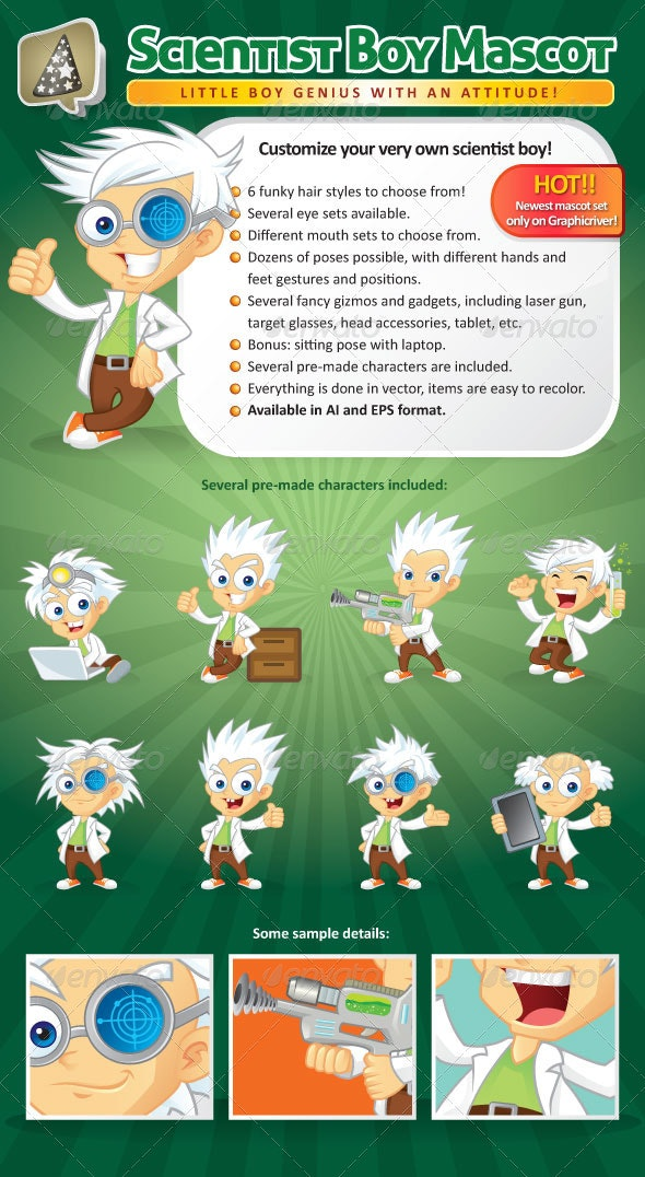 Scientist Boy Mascot Creation Kit - Characters Vectors
