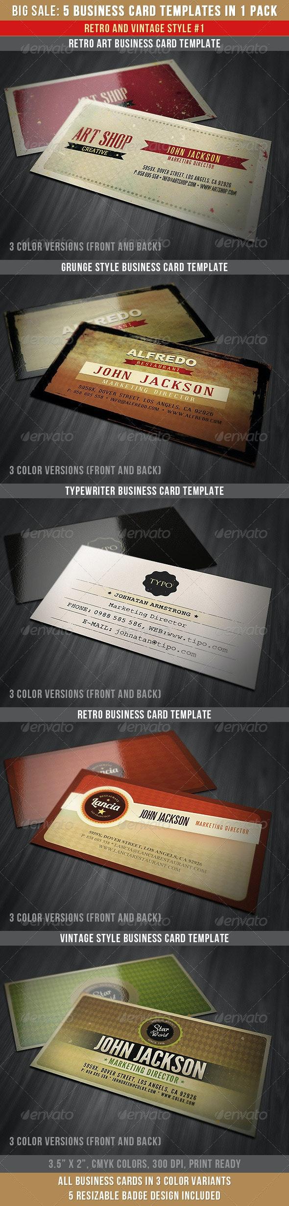 Retro Business Cards Bundle - Retro/Vintage Business Cards