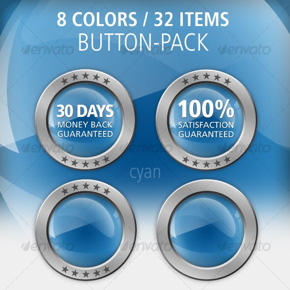 8 color button-set: glossy / metal