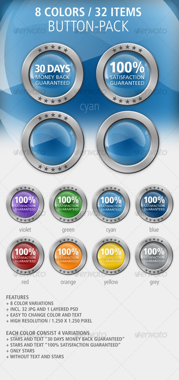8 color button-set: glossy / metal - Buttons Web Elements