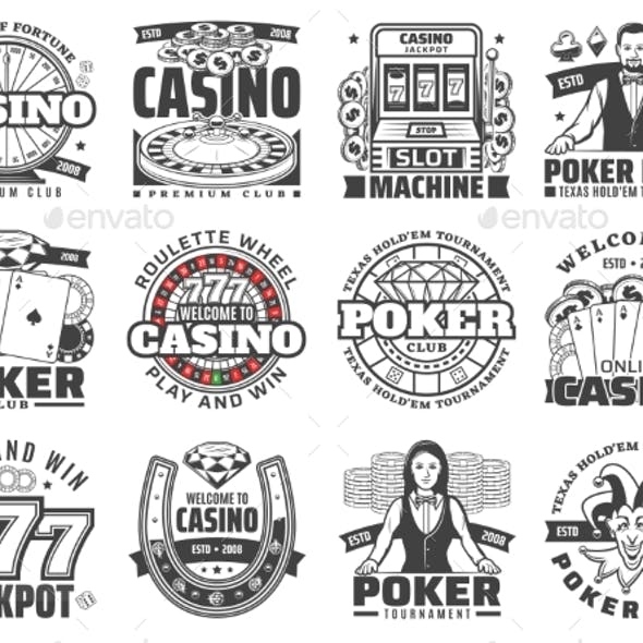 Casino Gambling Games Isolated Vector Icons