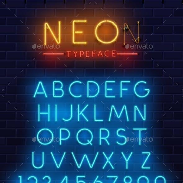 Neon Type Font, Glowing Vector Alphabet Letters