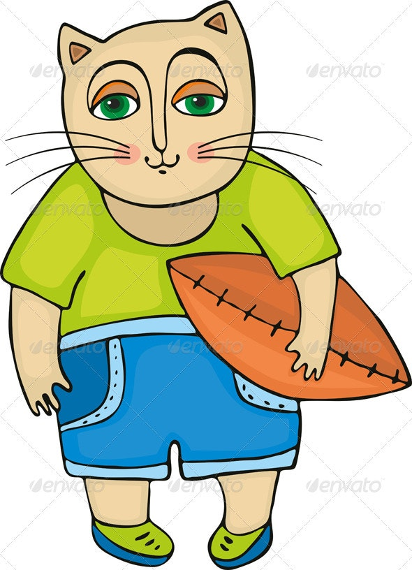 Cat Rugby Football - Animals Characters