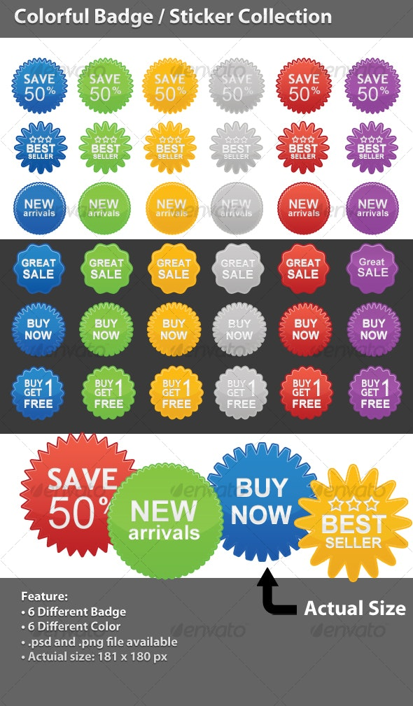 Colorful Badge / Sticker Collection - Miscellaneous Web Elements
