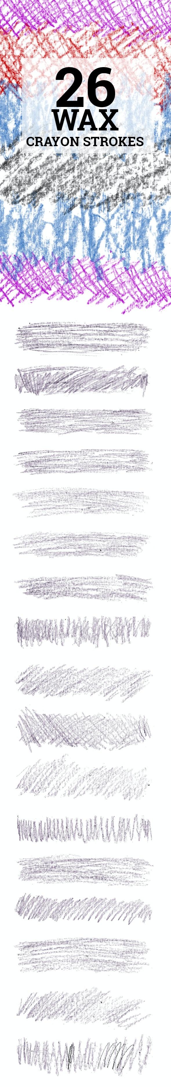 26 Wax Crayon Photoshop Brushes - Artistic Brushes