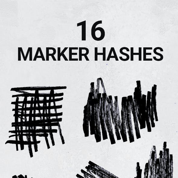 16 Hand Drawn Permanent Marker Hashes