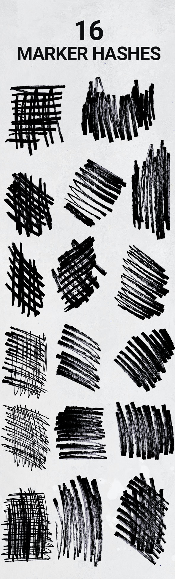 16 Hand Drawn Permanent Marker Hashes - Artistic Brushes