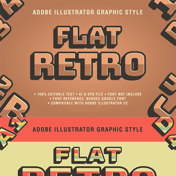 5 Retro Text Effect Graphic Styles Vector