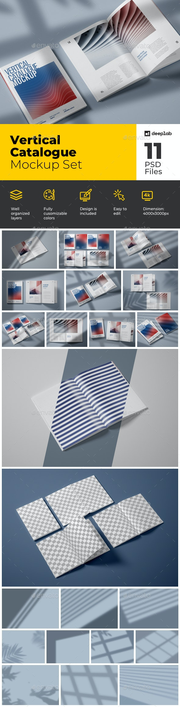 Vertical Catalogue, Magazine Mockup Set - Product Mock-Ups Graphics