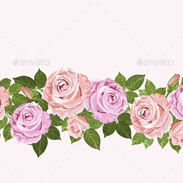 Pale pink roses seamless design for cards