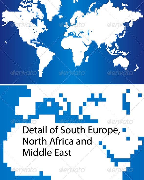 Pixel World Map - Miscellaneous Conceptual