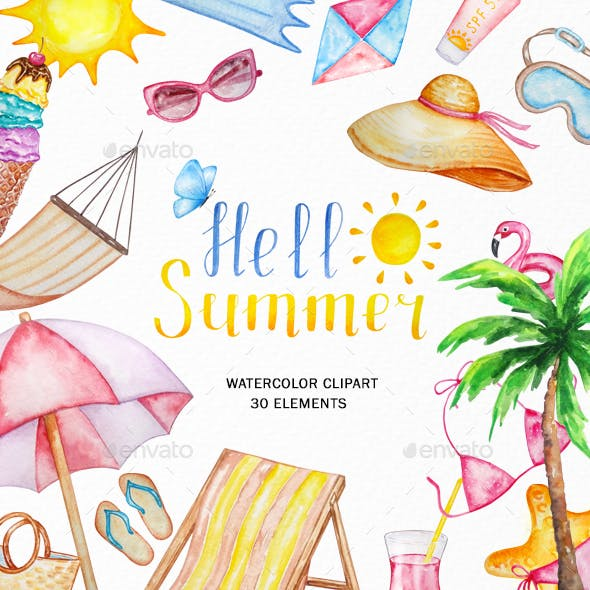 Watercolor Summer Clipart