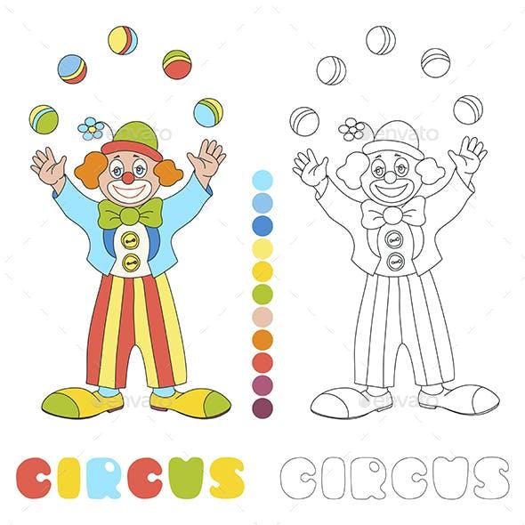 Circus vector clown juggler coloring book page