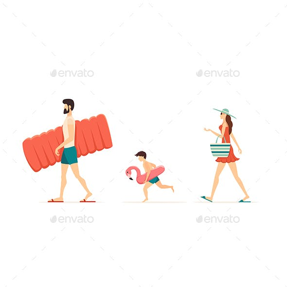Happy Family Goes to the Beach