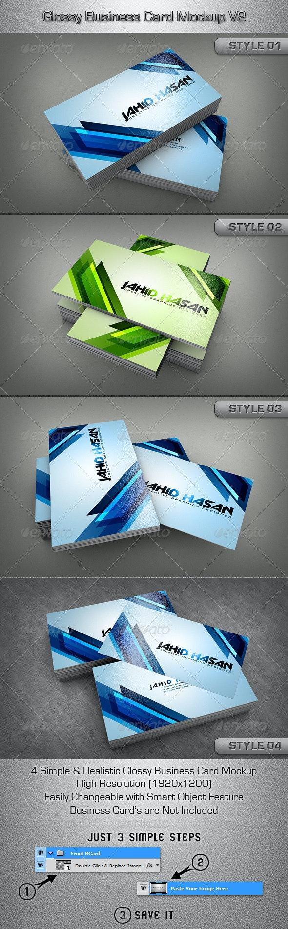 Glossy Business Card MockUp V2 - Business Cards Print