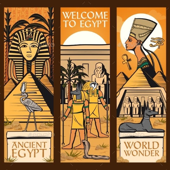 Ancient Egypt Banners. Vector Great Pyramids, Gods