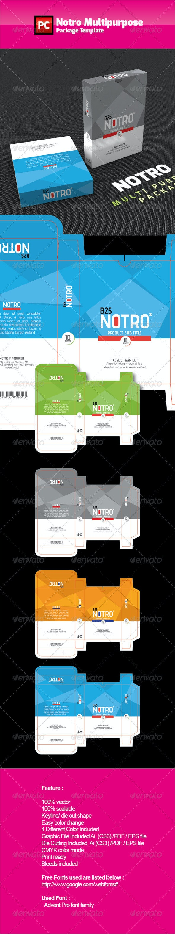 NOTRO Multipurpose Box Template - Packaging Print Templates