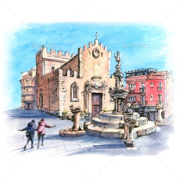 Piazza Duomo in Taormina, Sicily, Italy