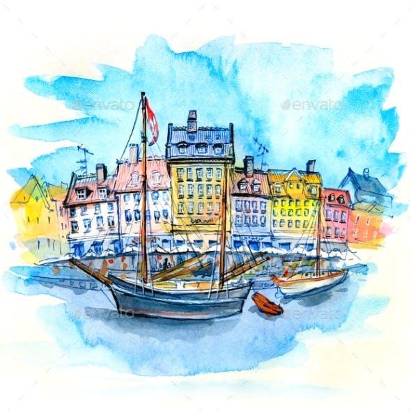 Watercolor Sketch of Nyhavn, Copenhagen, Denmark.