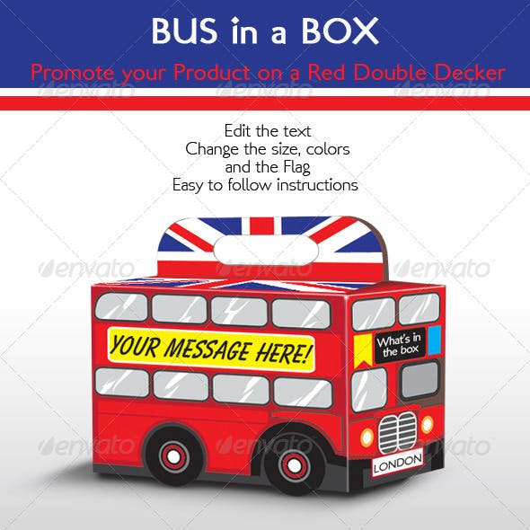Bus in a Box; Red Double Decker London Bus