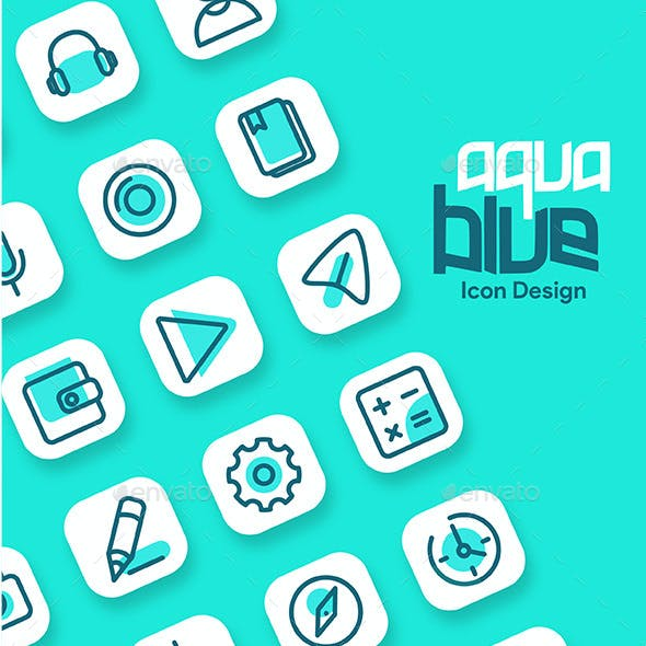 Aqua Blue Android app and website feature icon