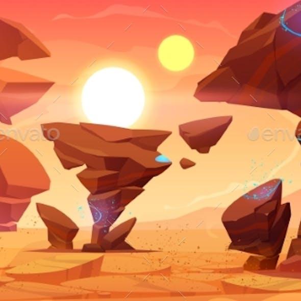 Alien Planet Desert in Cosmos Martian Landscape