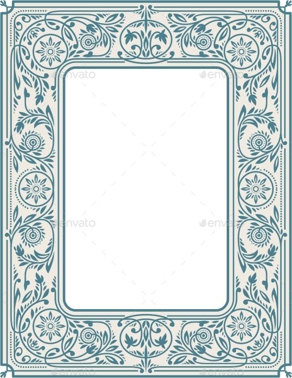 Retro Floral Border or Frame - Borders Decorative